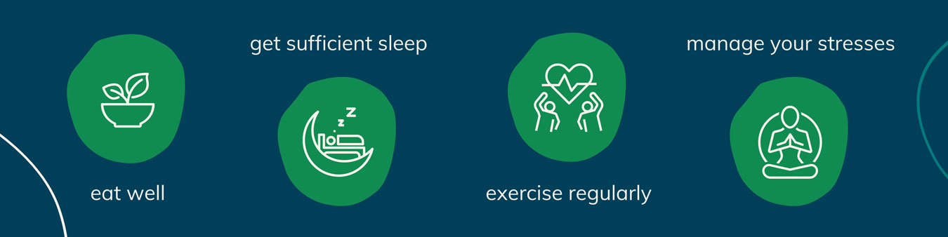 reduce inflammation; eat well, get sleep, exercise, manage stress